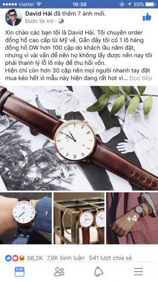 Mẫu quảng cáo bán đồng hồ thời trang