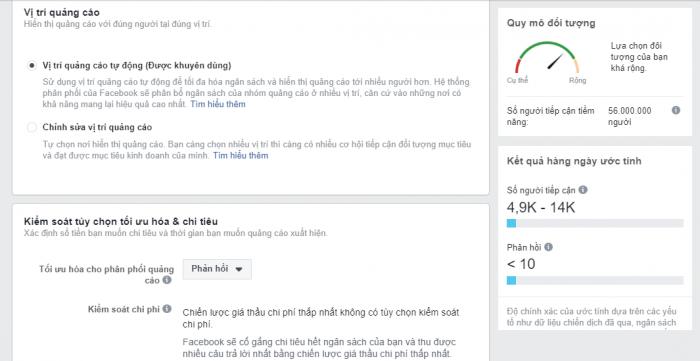 Chọn vị trí quảng cáo trên Facebook