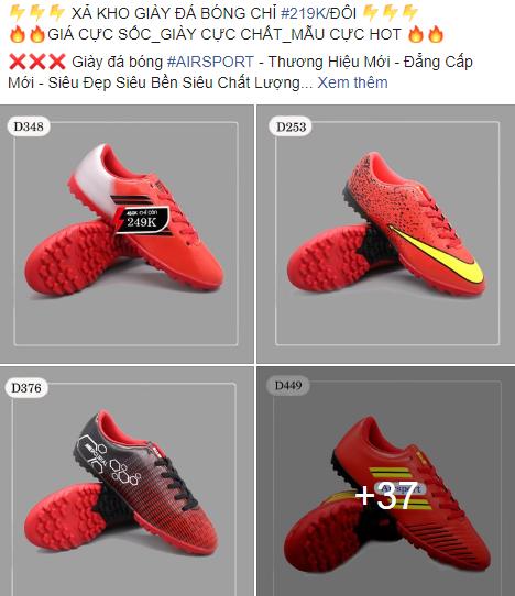 Mẫu quảng cáo giày bóng đá xả kho