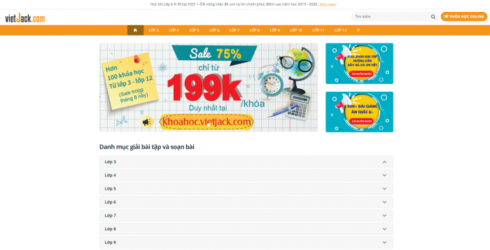Giao diện của website Vietjack