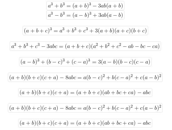 Các hằng đẳng thức mở rộng với hàm bậc 3